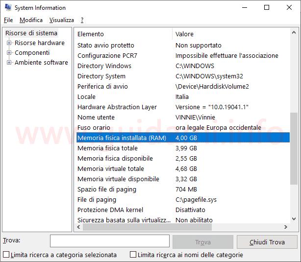 Windows 10 System Information dettaglio quantità memoria RAM installata