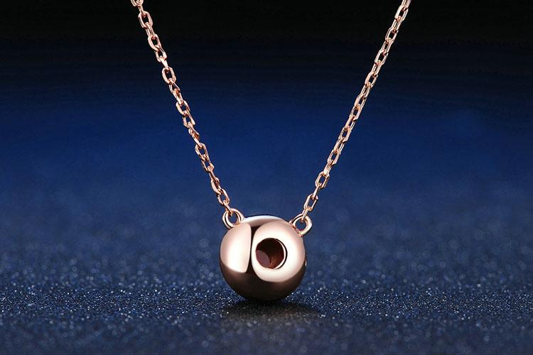天然石榴石 925純銀項鍊