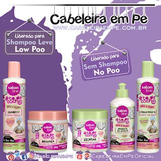 Shampoo e Máscara (Liberados para Low Poo), Condicionador, Gelatina e Ativador de Cachos (Liberados para No Poo)