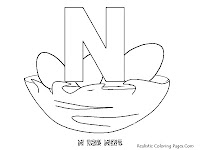 Alphabet Coloring Pages N FOR NEST