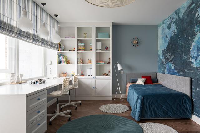 детские комнаты синие