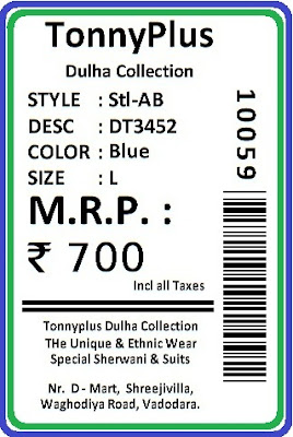 Barcode Label for Apparel Store Preprint Label