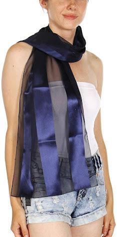 Blue Satin Chiffon Scarves Shawls