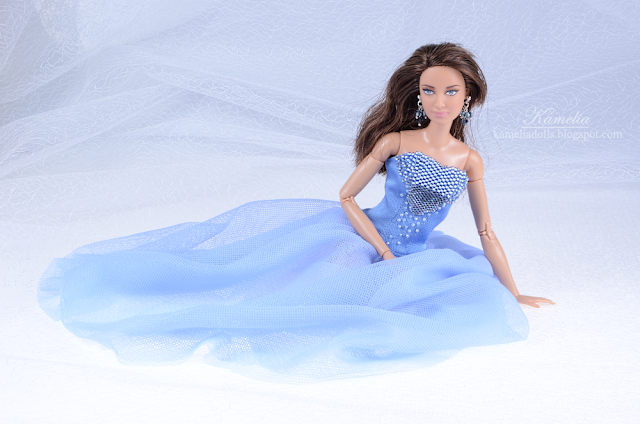 Sky blue ball gown dress with beads for made to move Barbie doll
