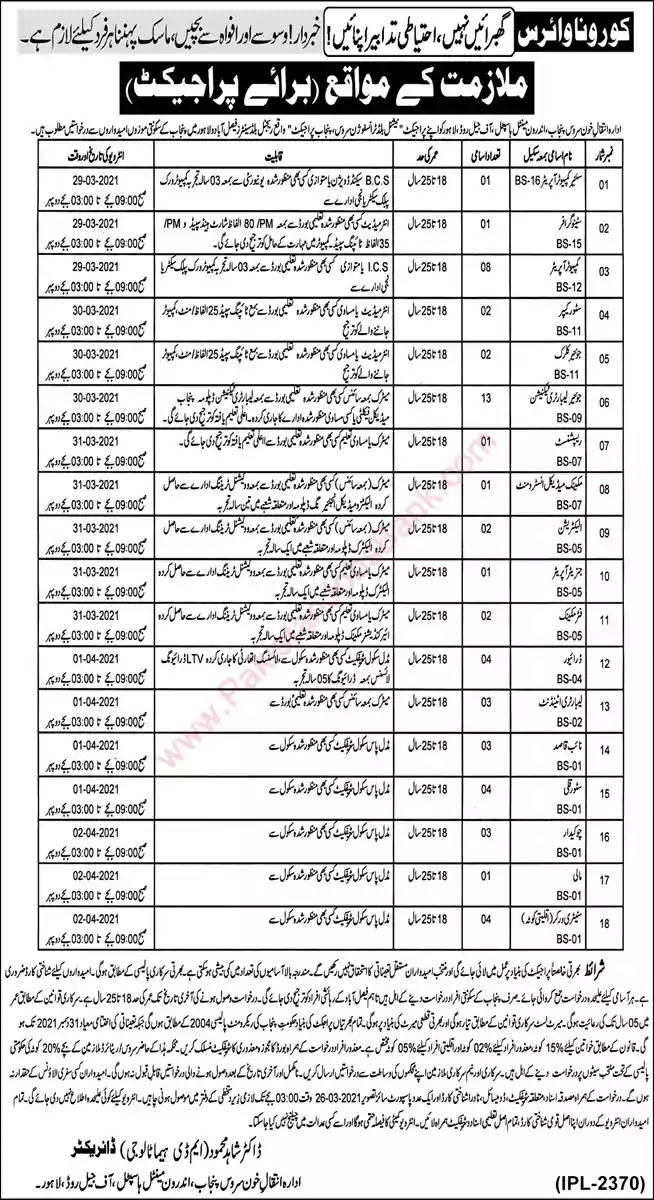 Latest Jobs in Pakistan Institute of Blood Transfusion Service Punjab Jobs 2021