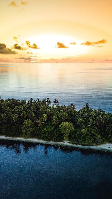 Sunset Ocean, Tropical island, Phoenix, Aerial view