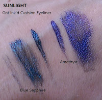 swatches comparing STILA Got Ink'd cushion eye liner Blue Sapphire Amethyst Black Obsidian review holiday gift set