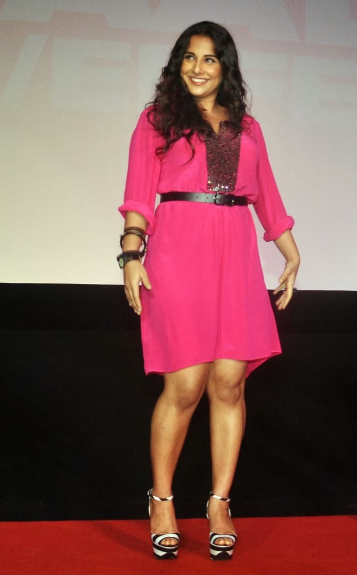 Vidya Balan Photos in Pink Short Dress