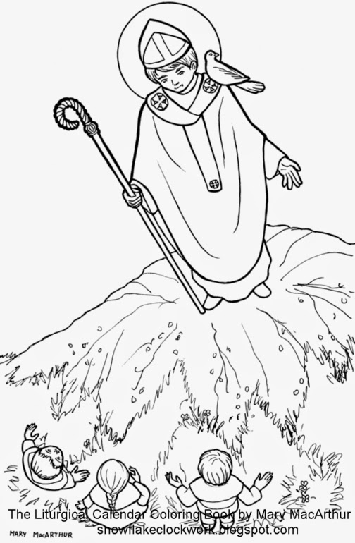 st david\'s day coloring pages | Snowflake Clockwork: St. David of Wales coloring page and ...
