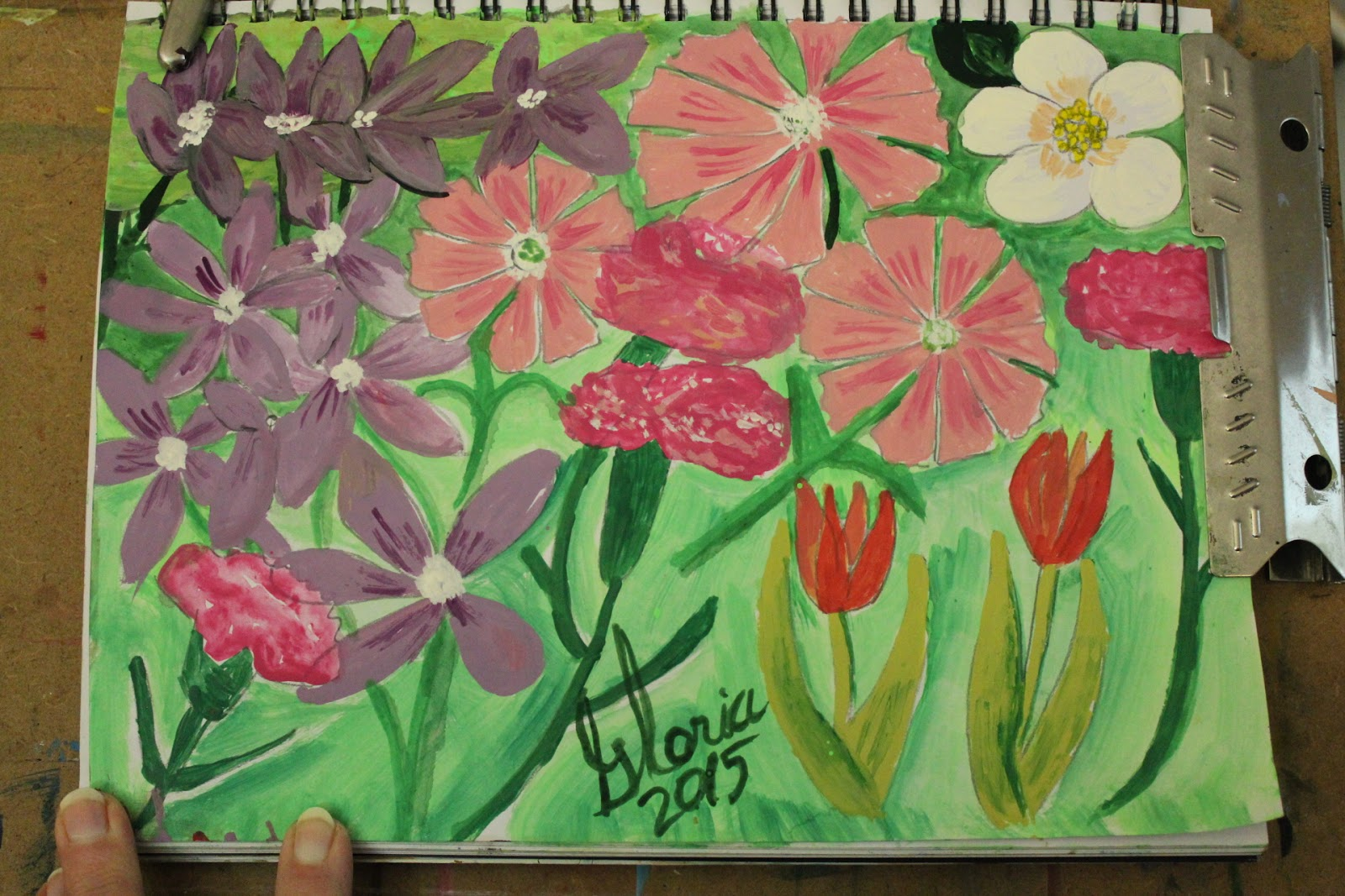 Spring flowers sketch by Gloria Poole,RN,artist of Missouri and Georgia