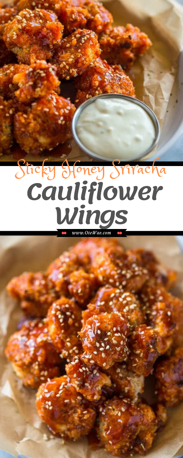 Sticky Honey Sriracha Cauliflower Wings