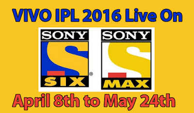 IPL 2016 Live on Sony Max Live