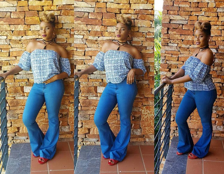 Looks like singer Yemi Alade added some weight as she steps out in baggy jeans