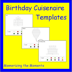 Birthday themed templates for using Cuisenaire Rods