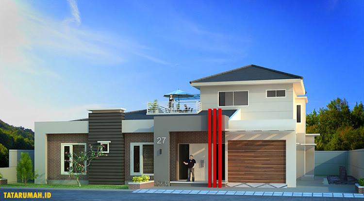 proyek kontruksi rumah mewah dua lantai dengan rooftop
