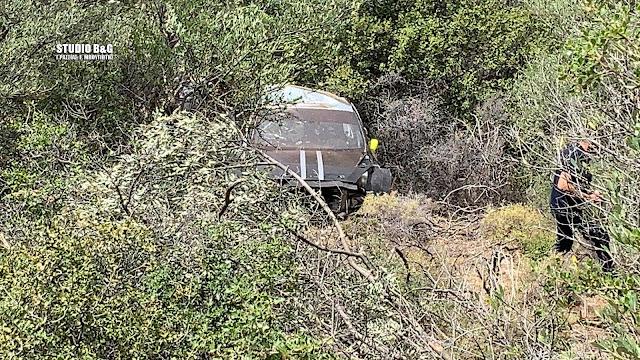 Σωρεία παραβάσεων για το αγωνιστικό αυτοκίνητο που έπεσε σε γκρεμό στην παλαιά Ε.Ο. Άργους - Τριπόλεως