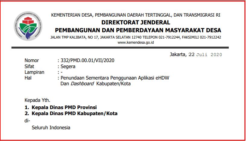 Penundaan Sementara Penggunaan Aplikasi eHDW Dan Dashboard Kabupaten Penundaan Sementara Penggunaan Aplikasi eHDW Dan Dashboard Kabupaten/Kota