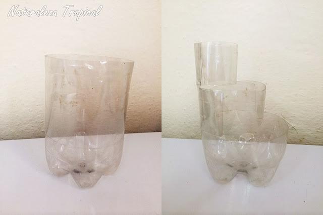 Botella plástica antes y después de recortar para el mini-jardín de suculentas