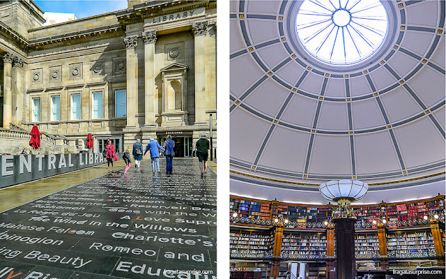 Entrada da Biblioteca Central de Liverpool e o Picton Reading Room, sala de leitura
