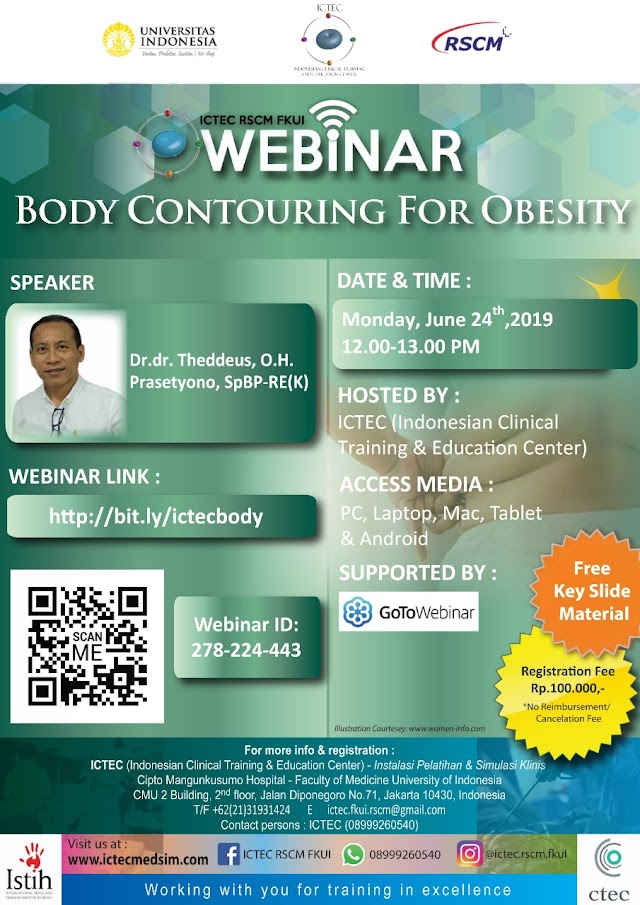 Webinar Body Contouring For Obesity  (Senin, 24 Juni 2019) Supported by GoToWebinar