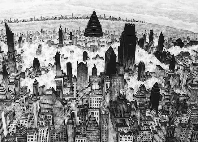 Rik Smits 2014 art, a big city in fog from a birdseye view