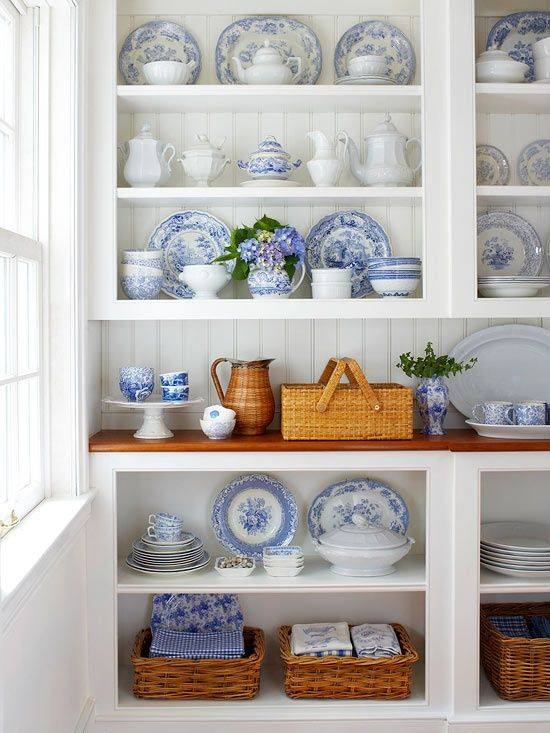In love with all these blue and white dishes!
