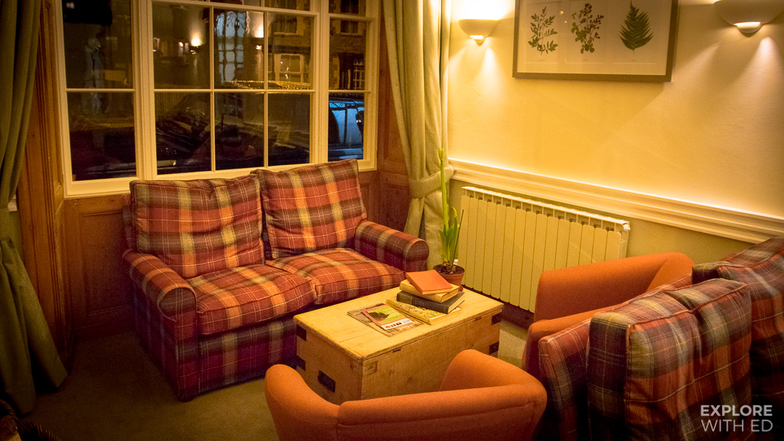 Snug area in The Swan at Hay-on-Wye Hotel
