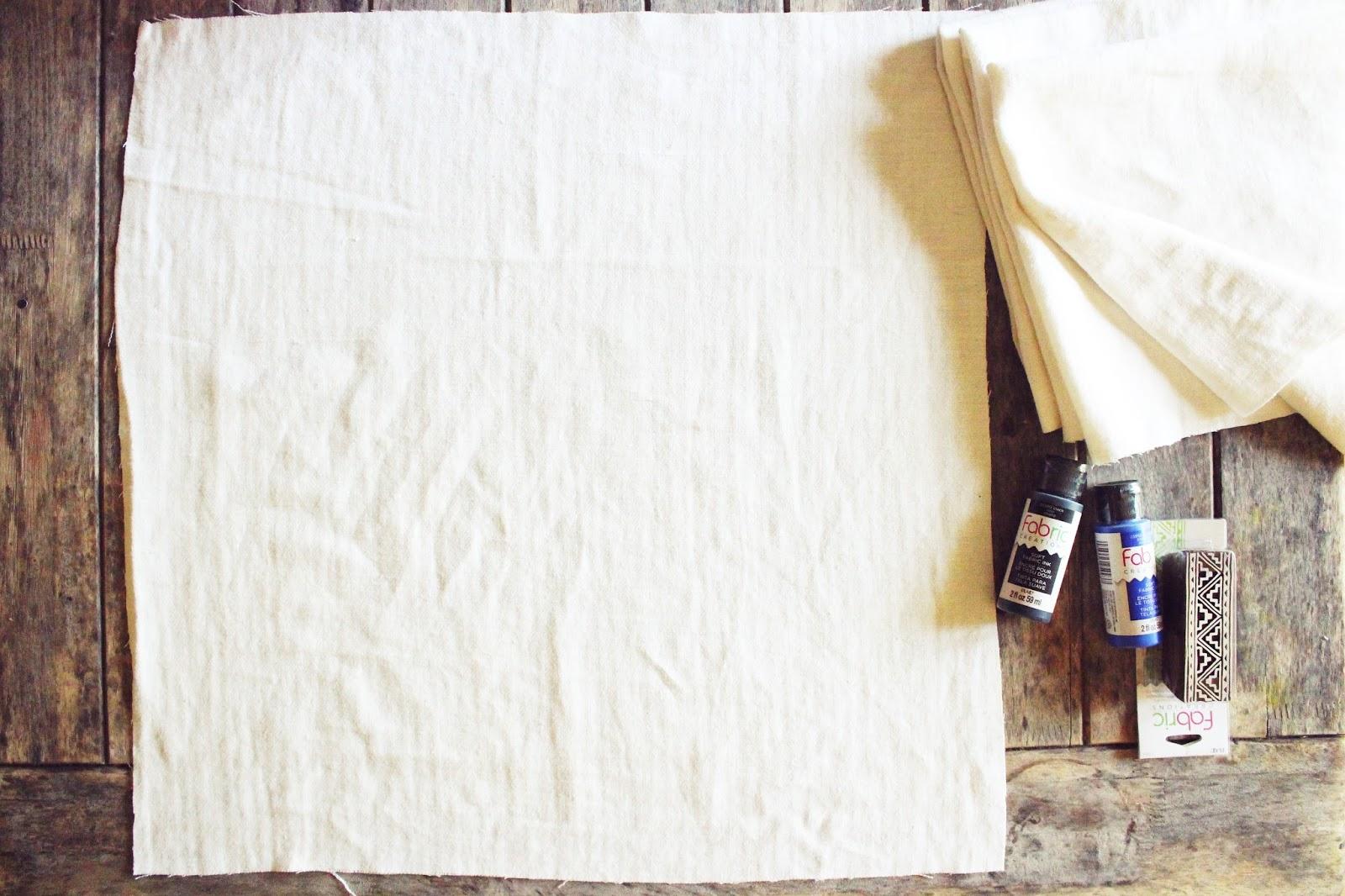 diy: block stamped kitchen towel