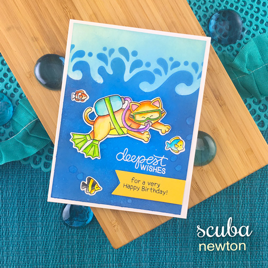 Scuba Diving Cat Card by Jennifer Jackson | Scuba Newton Stamp Set and Waves & Splashes Stencil by Newton's Nook Designs #newtonsnook #handmade
