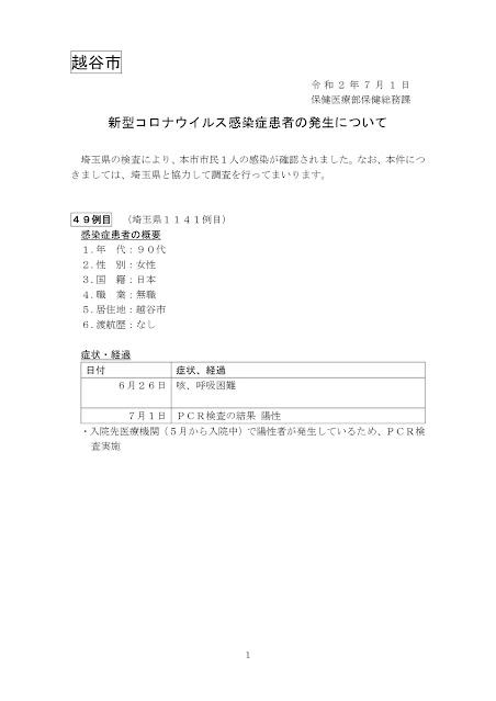 新型コロナウイルス感染症患者の発生について(7月1日発表)