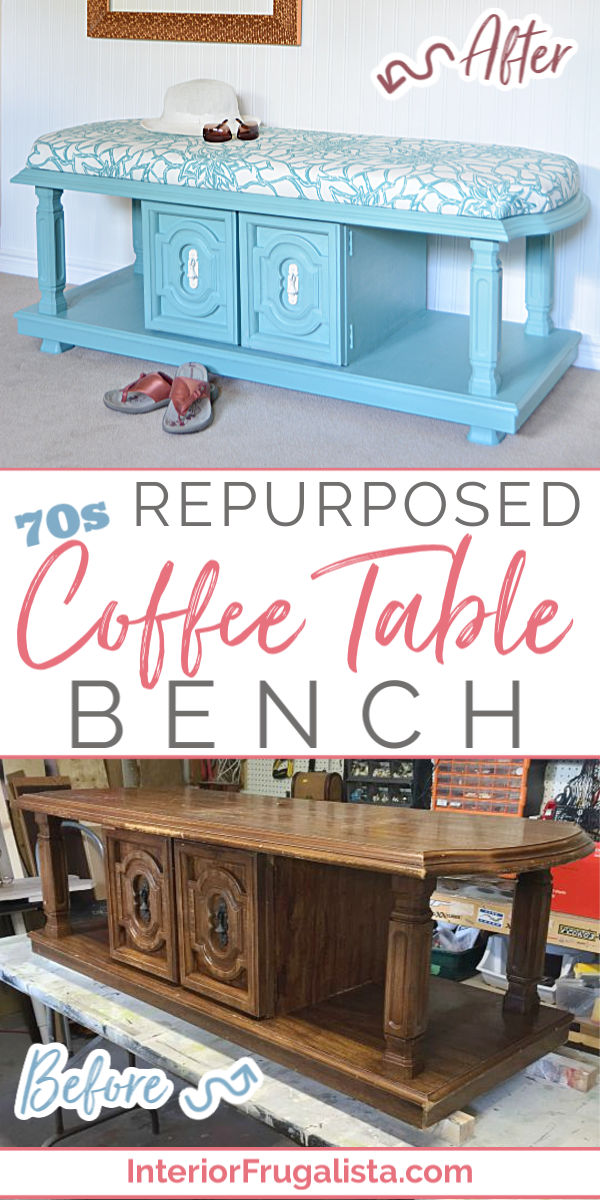 Repurposed Chunky 70s Coffee Table How to turn a chunky 70s coffee table into a beautiful teal blue upholstered bench with handy storage, perfect for an entry bench, ottoman, or end of a bed. An easy budget-friendly DIY furniture project by Interior Frugalista #upholsteredcoffeetable #coffeetablebench #furnitureprojects #furnituremakeover #vintagecoffeetable