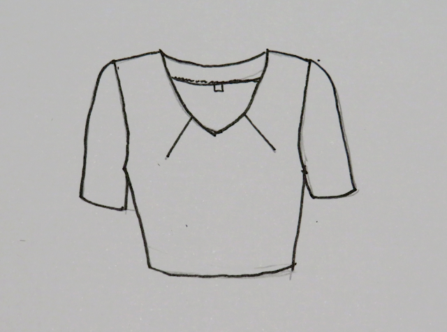 Ejemplo de blusa ya confeccionada siguiendo la técnica de pinza en escote mediante una ilustración