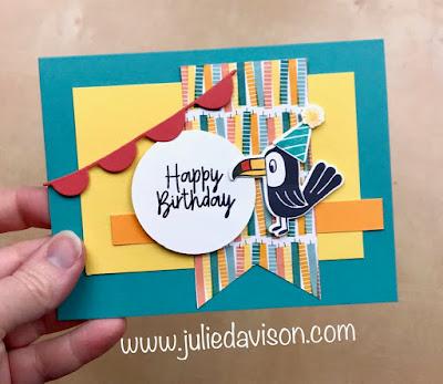 Stampin' Up! Birthday Bonanza Buddies Card ~ April 2020 Stamp of the Month Club Card Kit ~ Jan-Jun 2020 Mini Catalog ~ www.juliedavison.com #stampinup #birthday