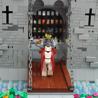 Woodstock Castle Lego MOC Mounted Knight on Drawbridge