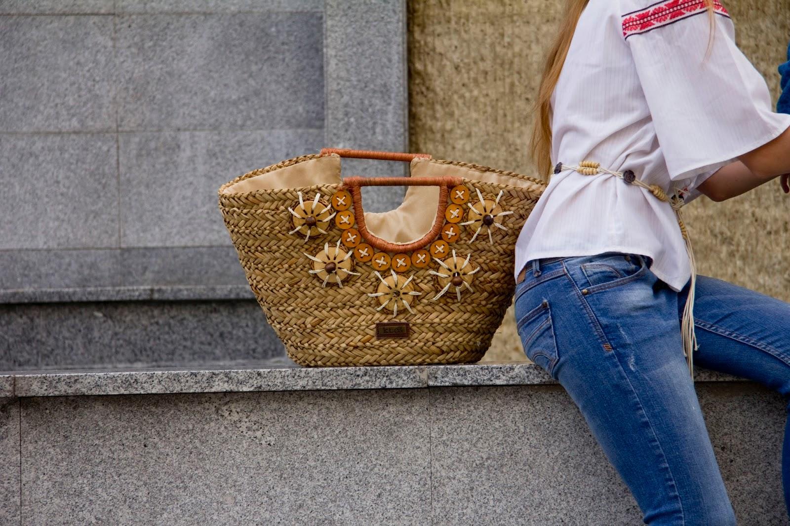 torba koszyk ze słomki