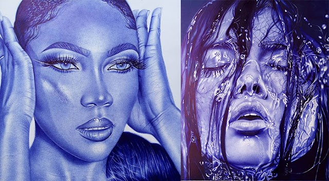Lives in blue; 'Harry Adams' mesmerizing portraits with ballpoint pens
