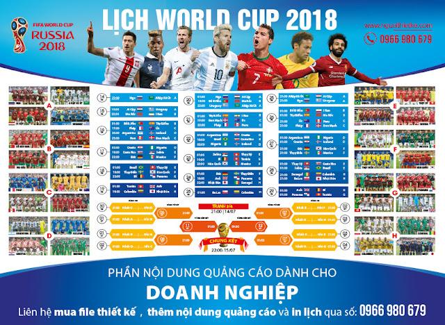 Thiết kế Lịch worldcup 2018 vector chuẩn in chuẩn quảng cáo
