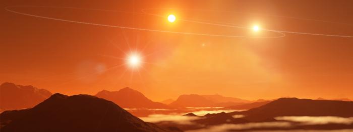 planeta orbitando 3 estrelas