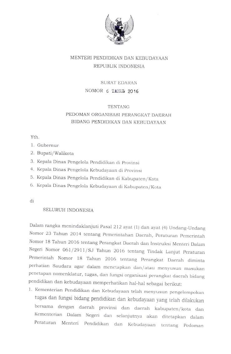 Pedoman Organisasi Perangkat Daerah Bidang Pendidikan dan Kebudayaan Berdasarkan SE mendikbud