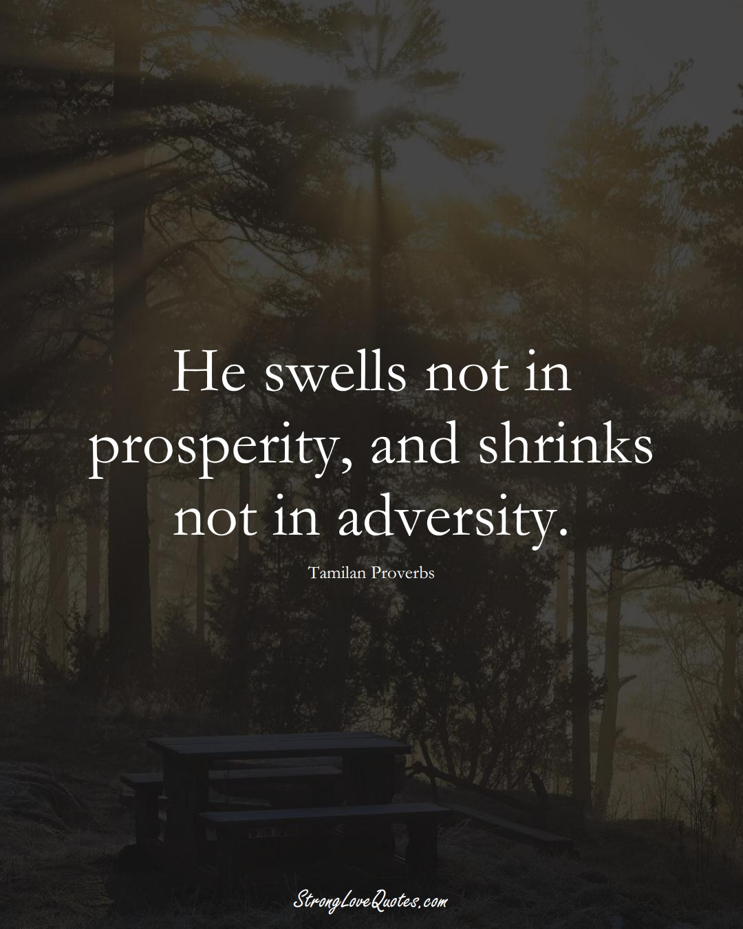 He swells not in prosperity, and shrinks not in adversity. (Tamilan Sayings);  #aVarietyofCulturesSayings