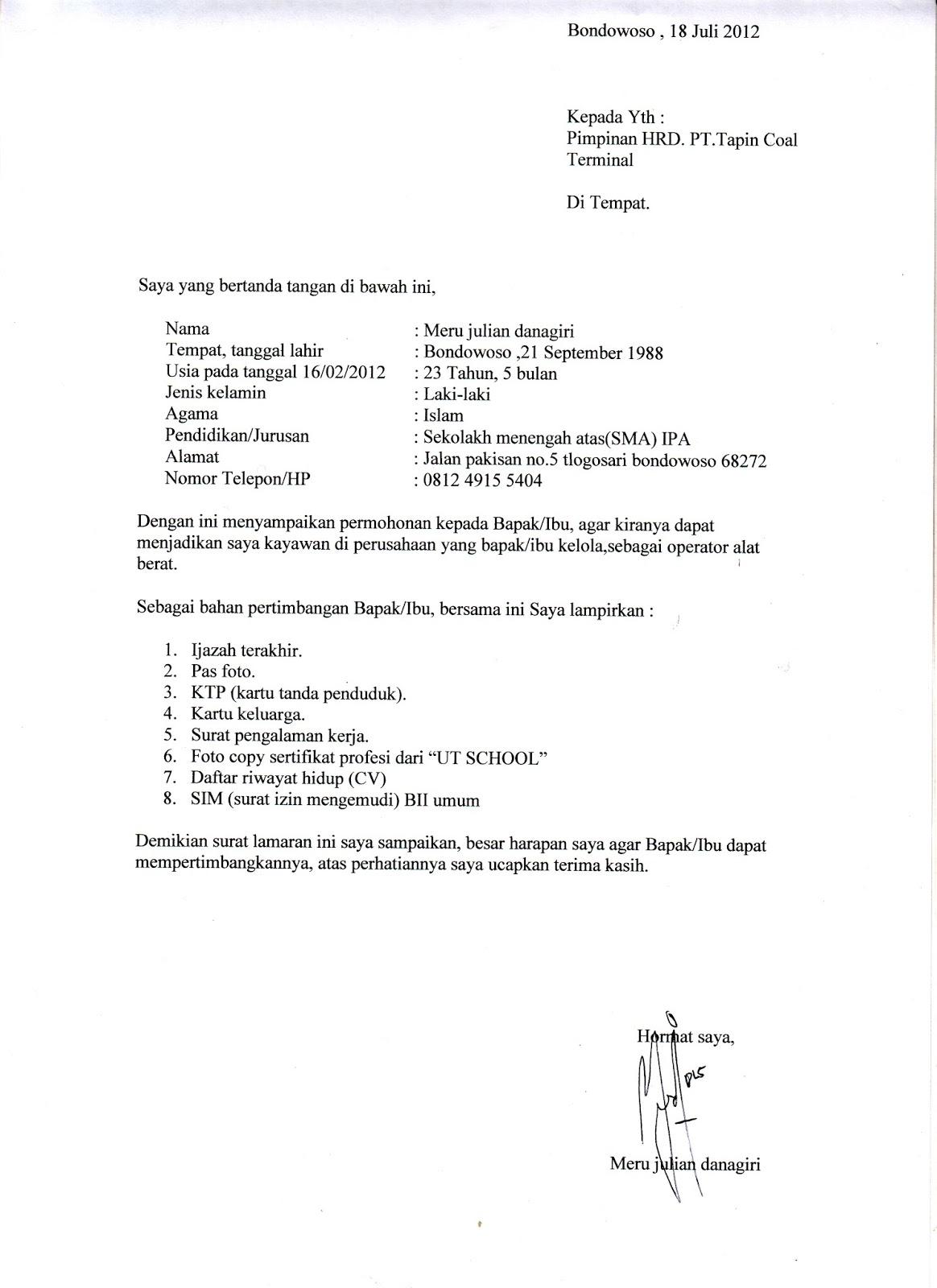 contoh surat lamaran kerja honorer pemda contoh u