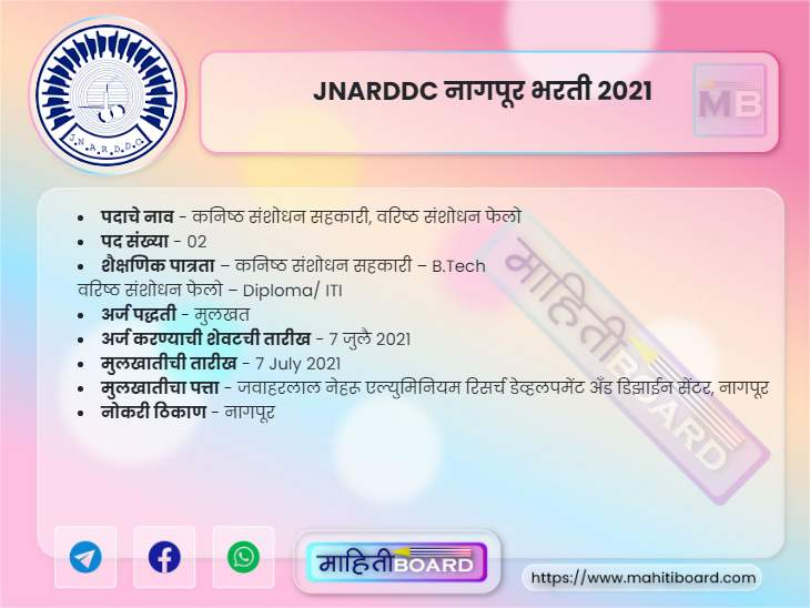 JNARDDC Nagpur Bharti 2021