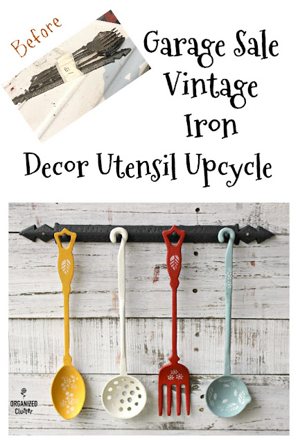 Garage Sale Vintage Iron Utensil Wall Decor Set Upcycle #upcycle #garagesalefinds #dixiebellepaint #stencil #utensil #kitchendecor