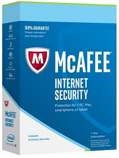 Mcafee Internet security 2017, antivirus, identity, antispyware,anti malware parental controlder, Protects from trojan, viruses, spyware, rootkits
