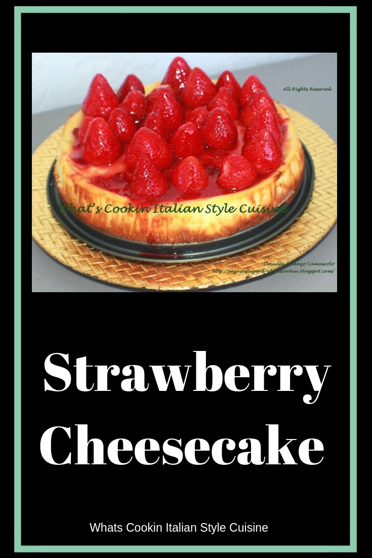 Strawberry cheesecake a copycat from Utica New York wiith whole strawberries and glazed . This is a copycat recipe for Strawberry Cheesecake from a famous bakery in Upstate New York called Manny's. It has whole strawberries and a thick cheesecake made with cream cheese