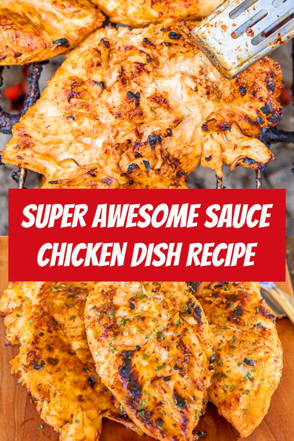 Awesome Sauce Chicken - seriously delicious!!! Only 3 ingredients! Chicken marinated in honey mustard, teriyaki sauce, and hot sauce. It tastes AWESOME! Leftovers are great chopped up on top of a salad or in a sandwich wrap. This easy chicken recipe is on repeat in our house! #grilling #grilledchicken #chicken #marinade #BBQ #hotsauce