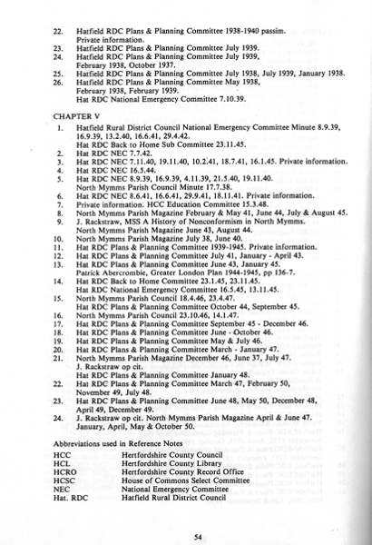 A scan of the bibliography and references pages of the book A Modern History Of Brookmans Park 1700-1950