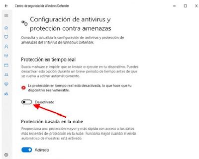 para desactivar la protección en tiempo real en windows defender es muy fácil solo debemos dar un clic sobre el botón que esta en azul y listo este pasara a un color gris con este sencillo paso tendrás desactivado windows defender en tu pc