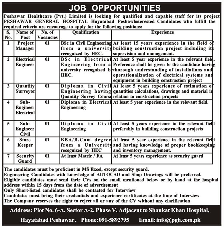 Advertisement for Peshawar General Hospital Jobs