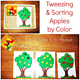 Tweezing and Sorting Apples by Color